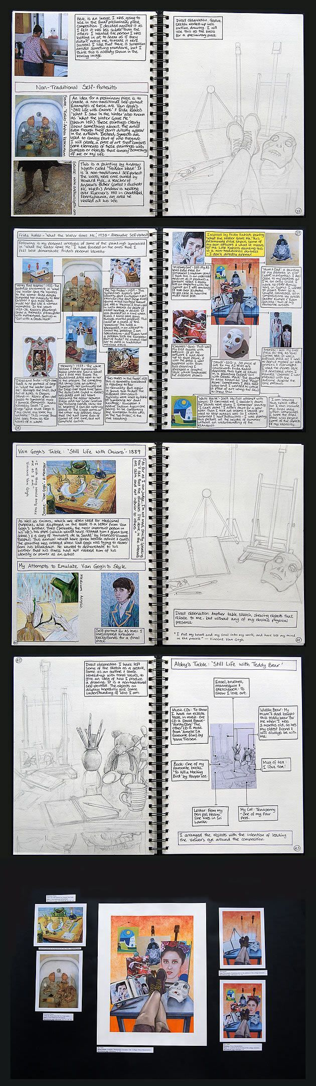 Abby Hope Skinner. Drawing from observation in art. This section of Abby's A Level Art portfolio shows excellent reference to first-hand sources. Here she completes observational line drawings of still life items (relating to her identity as a young artist – paint brushes, easels, artwork) arranged on a studio desk. The compositions communicate the essence of Abby's identity, without the inclusion of a typical self-portrait – an innovative way of approaching a self-portrait.