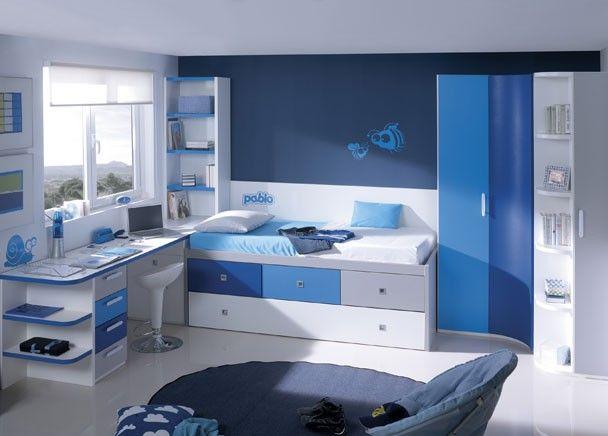 Habitacion infantil con armario rincon curvo altura 219cms armario terminal zapatero y - Habitacion con cama nido ...