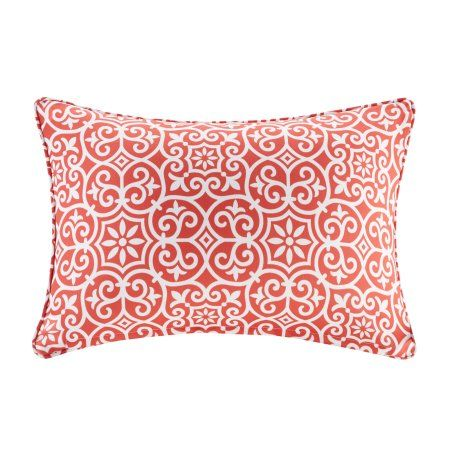 Home Essence Delmar Printed Fret 3M Scotchgard Outdoor Pillow, Red