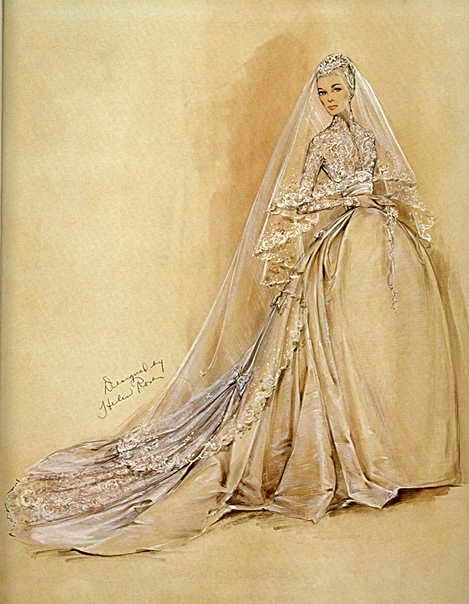 The design sketch for Grace Kelly's wedding dress by Helen Rose. Oh, to sketch like this!