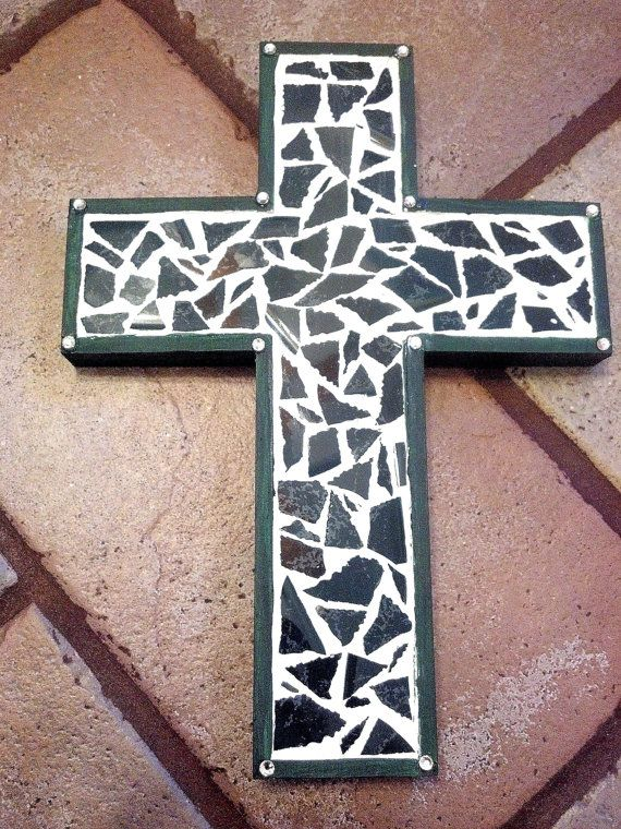 Mosaic Forest Green Cross Wall Hanging