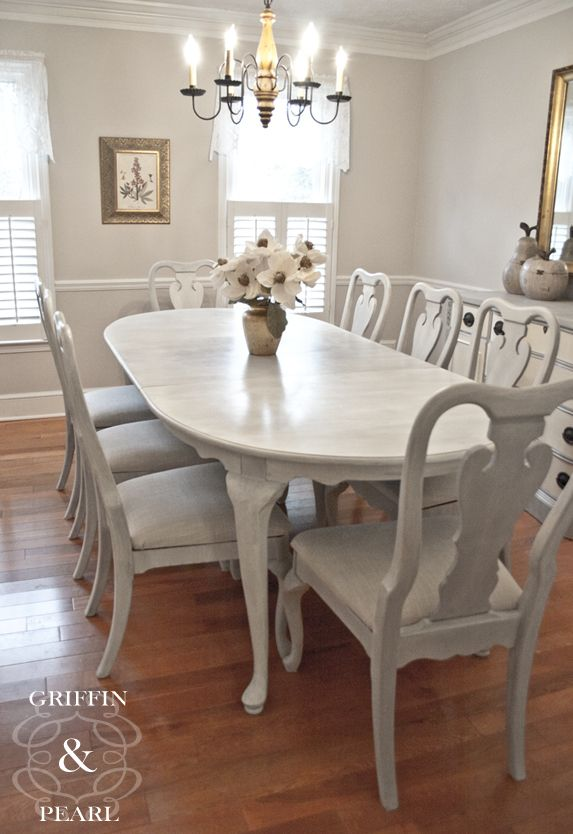 SOLD - Our Elisabeth Dining Set would be perfect for the person who loves to entertain. Finished in a white-washed Paris Grey and reupholstered with a beautiful neutral fabric. #griffinandpearl #anniesloan #chalkpaint #reupholstered #diningset #ParisGrey #OldWhite #whitewash #shabbychic #vintage #vintagechic #upcycled