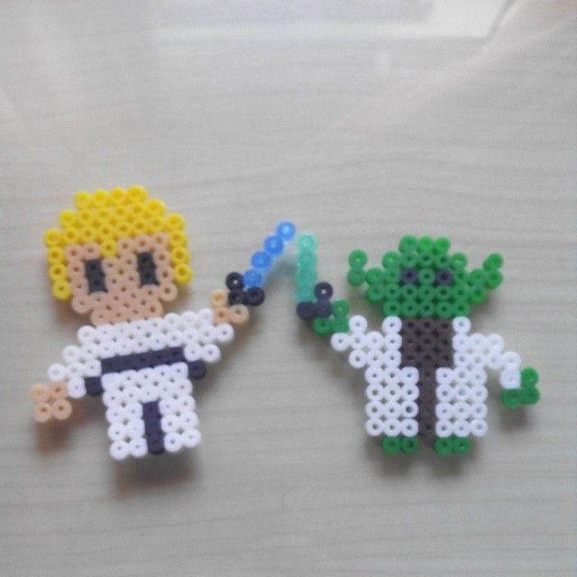 Luke and Yoda Star Wars hama beads by maytemateofta
