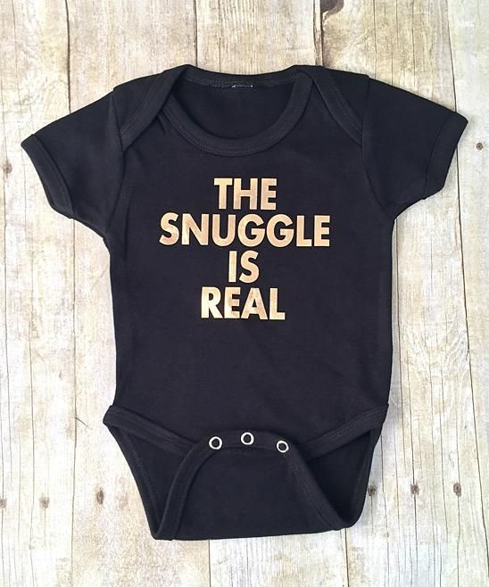 Baby Booms Black & Gold 'The Snuggle Is Real' Bodysuit - Infant