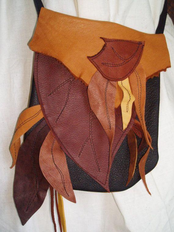 Wood Elf  Leather Leaf Bag by silverwillowstar on Etsy, $39.95
