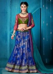Wedding Wear Blue Net Embroidered Work Lehenga Choli