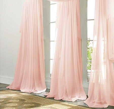 PALE PINK CHIFFON curtain, sheer, window dressing, draping, home decor, interior decor, window treatment, elegant, pink, pastel