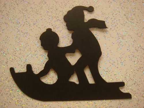 10 Black Silhouette Children on Sledge christmas die cut card toppers - cardmaking/scrapbooking on Etsy, £2.25