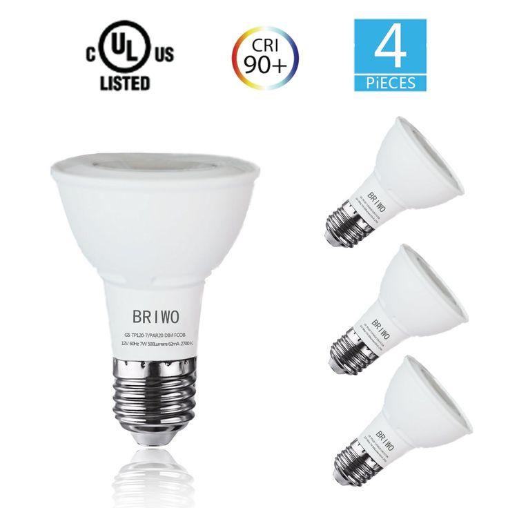 Briwo PAR20 LED Bulb 7W Flood Light Bulb(50W Halogen Lamp Equivalent) 2700K Warm White CRI90+ 25°Beam Angle Spotlight E26 Medium Base,UL Listed(4-Pack)