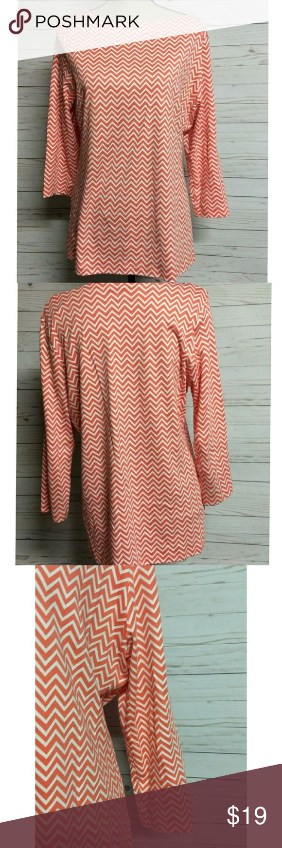 """Kim Rodgers coral chevron pullover Coral & white Chevron print Boat neck Size XL 24"""" from shoulder to hem 18""""pit to pit 19"""" from shoulder to end of sleeve All measurements are approximate  Feel free to bundle your favorites and I will be happy to offer you a discount  Thanks for looking! Tops"""