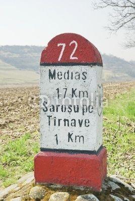 milestone on the road to Medias, Transylvania, Romania