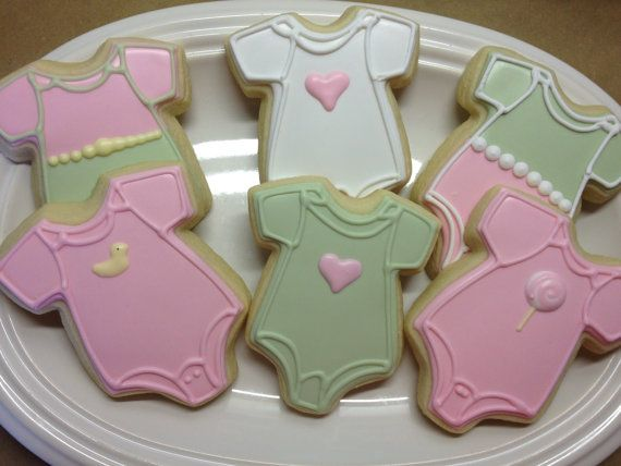 Baby Onesie Decorated Sugar Cookies by Decorated Desserts on Etsy