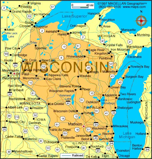 Map Of Wisconsin-Capital:Madison; Became A State On May 29