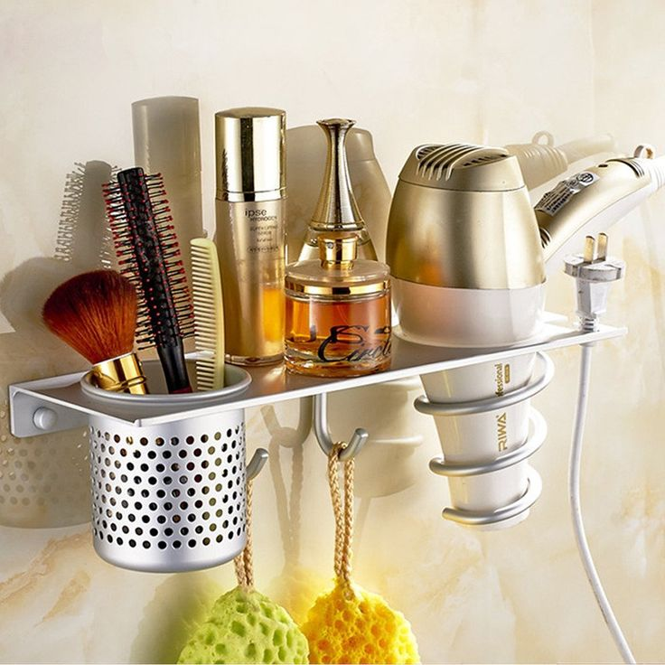 Amazon.com - Eco-friendly Aluminum Multifunctional Bathroom Organizer Collection Storage Rack w/ Flat Panel&Hair Dryer Holder&Canister&Towel Hooks -