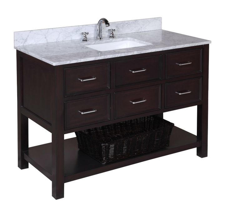 Picture Gallery For Website New Hampshire Bathroom Vanity Carrara Chocolate Includes Authentic Italian Carrara Marble Countertop Chocolate Cabinet with Soft Close Drawers