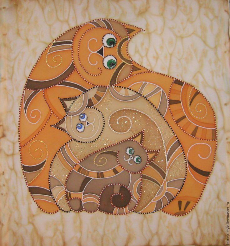 Тройной муррррр...... - рыжий, коты, семья, любовь, подарок на любой случай, шёлк, двп