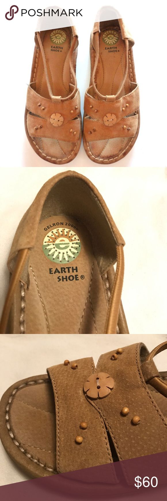 "Earth Shoes Genuine Suede Leather W/Beaded Top Earth Shoes with Gelron 2000 Heel in Womens size 7 1/2 W. These measure 3 1/2"" wide, are Genuine Suede Leather with Beaded Top. 🔥Never Been Worn 🔥 Earth Shoe Shoes Sandals"