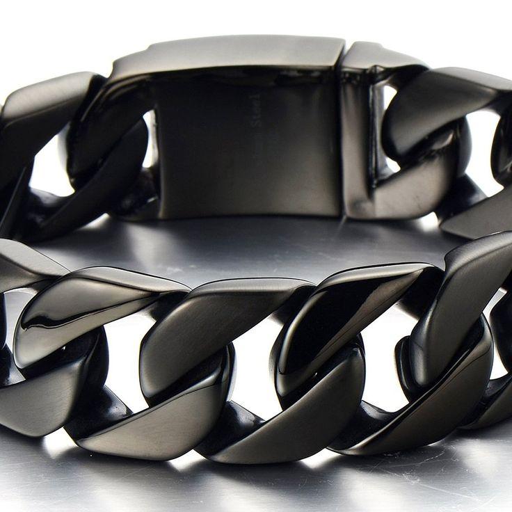 22CM Große Maskulinen Stil Edelstahl Schwarze Panzerkette Herren Armband: Amazon.de: Schmuck