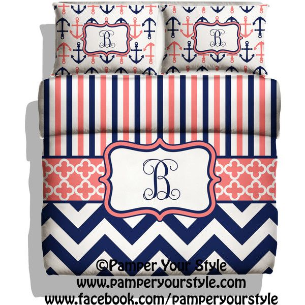 Monogrammed Striped and Chevron Nautical Anchor Bedding Navy and Coral... ($139) ❤ liked on Polyvore featuring home, bed & bath, bedding, black, home & living, king bedding sets, twin bed set, chevron twin bedding, twin bedding and queen bed set