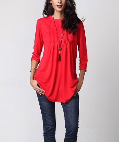This Red Notch Neck Pin Tuck Tunic is perfect! #zulilyfinds I don't love this color for me.