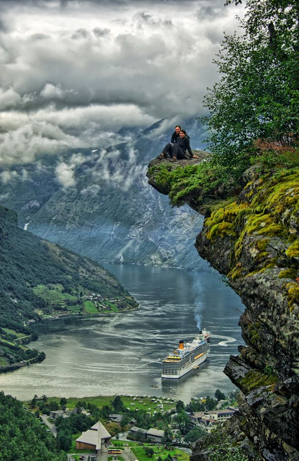 Geiranger Fjord, Norway: I've been here! Wow! This is a beautiful capture of this incredibly gorgeous view. Here's another photo from a higher vantage point: http://gallery.beautysuspended.com/p463270986/e4e05aed - you can see more of the valley.  This makes me pine to visit Norway again. Beautiful country, beautiful people.