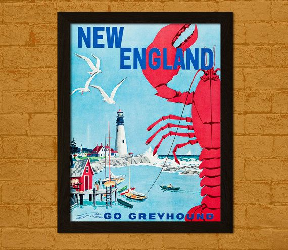 BUY 2 GET 1 FREE New England Travel Poster 1960s - Vintage Travel Print New England Poster Wall Decor Home Decor Retro Travel Wall Art