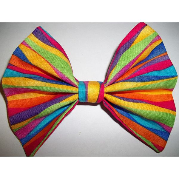 Hair Bow Barrette circus carnival clown costume tie dye peace sign... ($3.75) ❤ liked on Polyvore featuring accessories, hair accessories, bows, rainbow, hair bows, hair clip accessories, barrette hair clip, vintage hair clips and hippie hair accessories