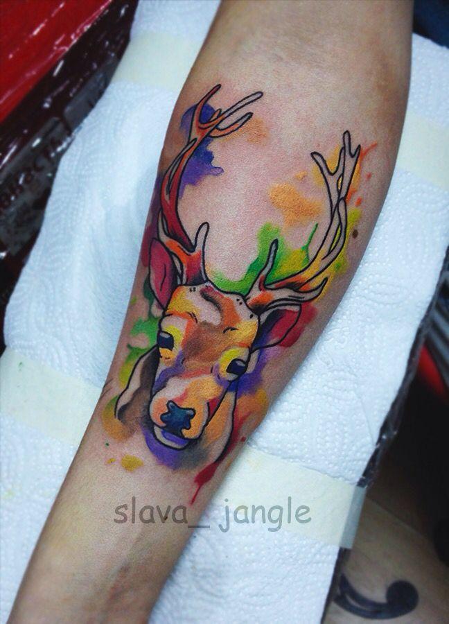 tattoo акварельная татуировка олень