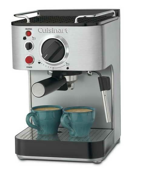 Black Cappuccino Maker Espresso Machine Thermoblock Pump ESE Pods Polished Steel
