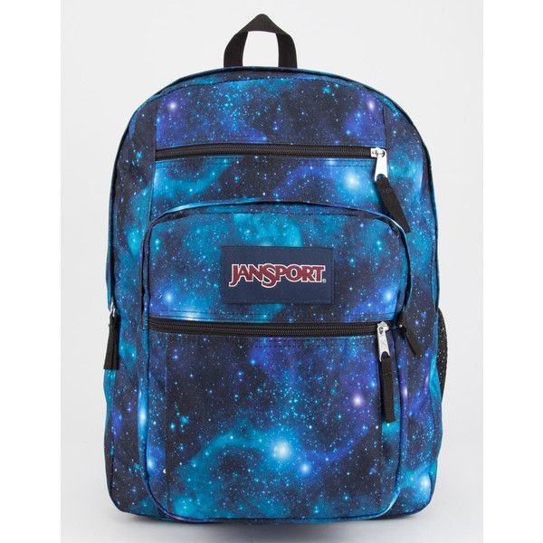 Jansport Galaxy Big Student Backpack ($48) ❤ liked on Polyvore featuring bags, backpacks, planet backpack, pocket backpack, jansport, padded backpack and blue backpack