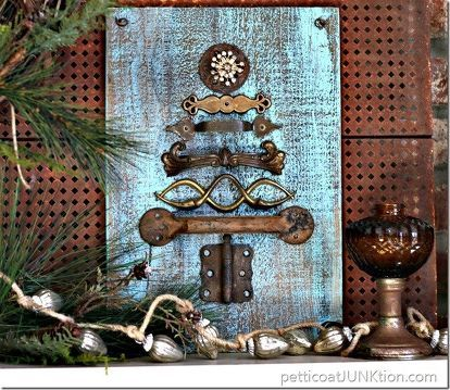 sparkle and rust hardware christmas tree junktion refunktion, crafts