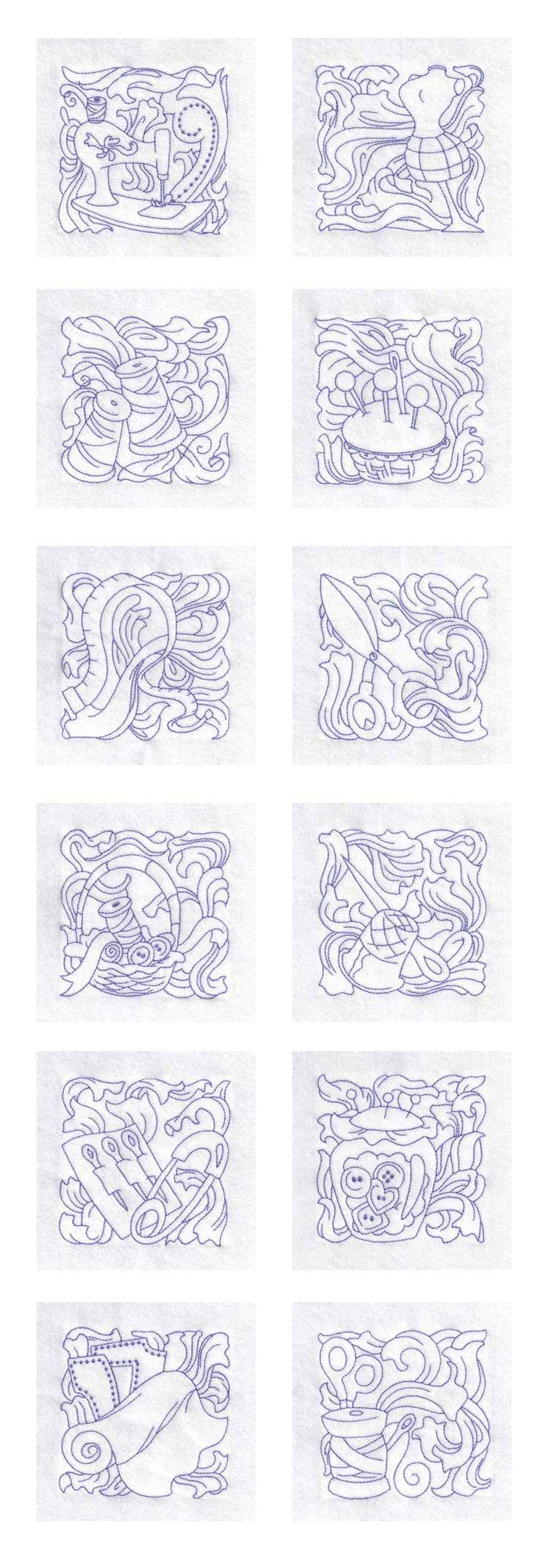 Redwork Sewing Blocks Embroidery Machine Design Details