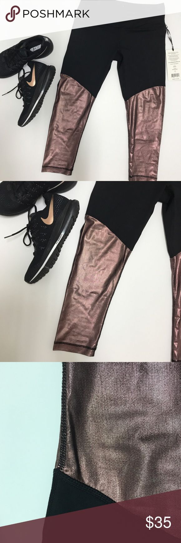 {90 Degree} Metallic Rose Gold Mesh Crop NWT. Black & rose gold gym/running/just-generally-looking-badass crop. 90 Degree by Reflex. Size small. { Super Fast Shipping / 15% Off Bundles / Reasonable Offers Are Welcome, But Lowballing Makes Me Sad } 90 Degree by Reflex Pants Ankle & Cropped