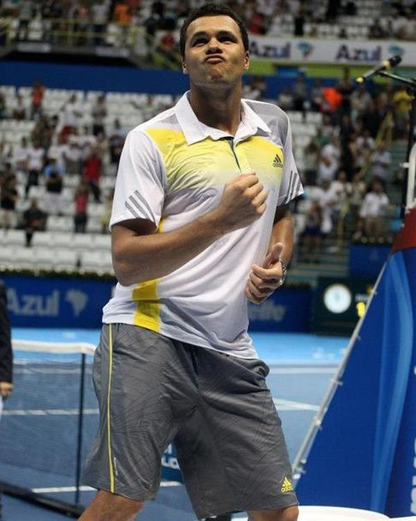 Jo Wilfried Tsonga having a little fun on the court.