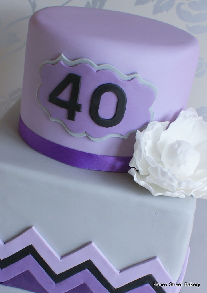 Purple and grey two tier stacked chevron 40th birthday ...