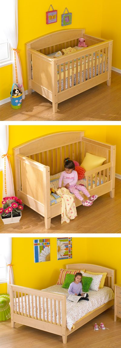 "3-in-1 Bed for All Ages Woodworking Plan — Like a best friend, this bed grows up with your child. Starting as a crib for a newborn, this ""Sleep System"" easily changes into a bed for a toddler, and then into a full bed, serving a child well past adolescence. Simple decorative connector bolts and concealed cross dowels make these quick changes possible. Build all the parts now and be years ahead, or choose any one of the three beds to meet current needs…"