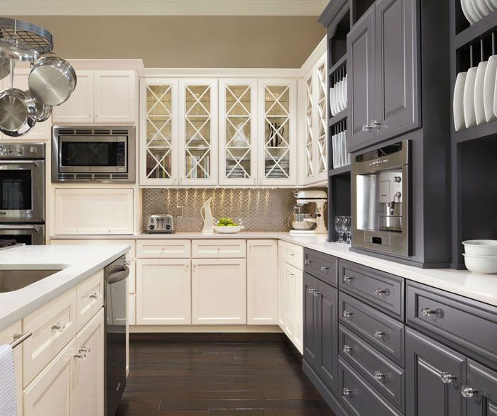 Gray Kitchen Cabinets With Black Appliances: Traditinal Kitchen: White + Grey Cabinets With Dark Wood Floors And Stainless Steel Appliances