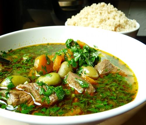 Lamb Tagine. (Boneless Lamb shoulder marinated in great spice mix, add carrots, picholine olives. Mix in parsley/cilantro mix at the very end so it stays green.)