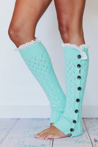 Paige would love these.  Lacy Leg Warmers Buttoned Up Lace leg warmers in apricot
