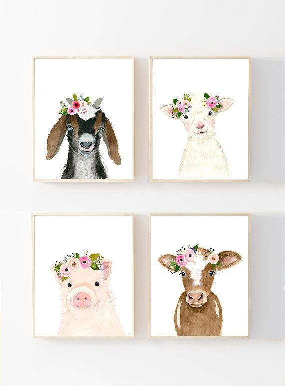Watercolor Baby Goat, Baby Goat Print, Baby Goat Art, Farm Animal Art, Nursery Art. nursery farm animals, neutral nursery art