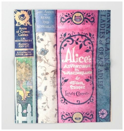 Beautiful bookish blankets - a bookshelf-themed throw with classic books spines would be perfect for any reading nook.