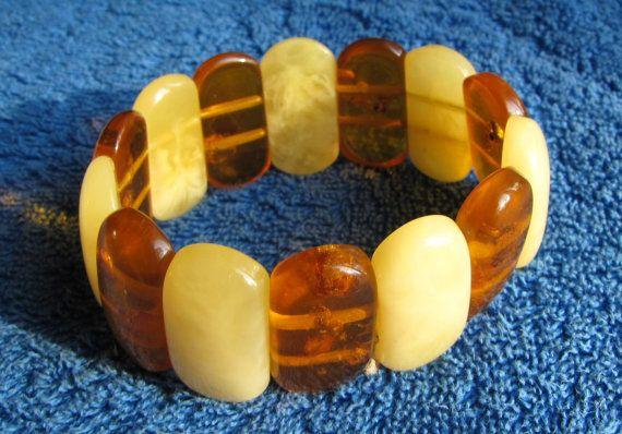 Natural Baltic amber 40.6 gr bracelete white yellow by ambergems93