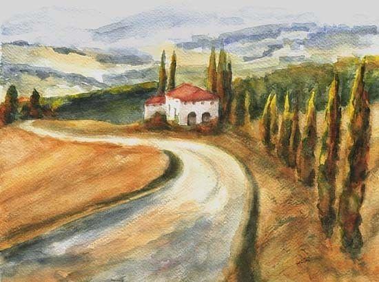 Road to Rapolano II  original watercolor painting by Maga Fabler  © Maga Fabler 2015 #art #Tuscany #watercolor #landscape @magafabler