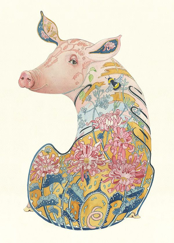 Pig - Card | Animal Cards and Prints & Screen prints | The DM Collection
