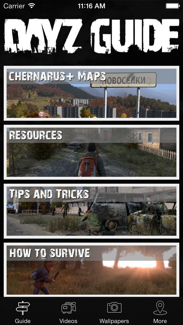 Maps and Guide for DayZ Standalone: You can download here: https://itunes.apple.com/hu/app/id796202912?mt=8&affId=1860684 This app countains everything what you need to get ready to DayZ Standalone!