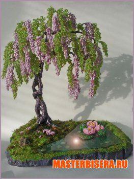 Дерево Глицинии из бисера мастер класс