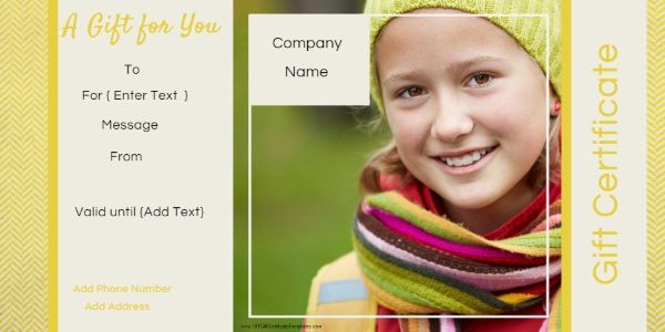 Free Photo Gift Certificate Templates. Use our free online gift certificate maker to add your photo and customize the text. Instant download. Many designs available.