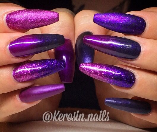 Deadly Claws Purple nails ombre nails long nails coffin nails nail art gel nails acrylic nails pink nails party nails glitter nails bling nails glitter ombré nails