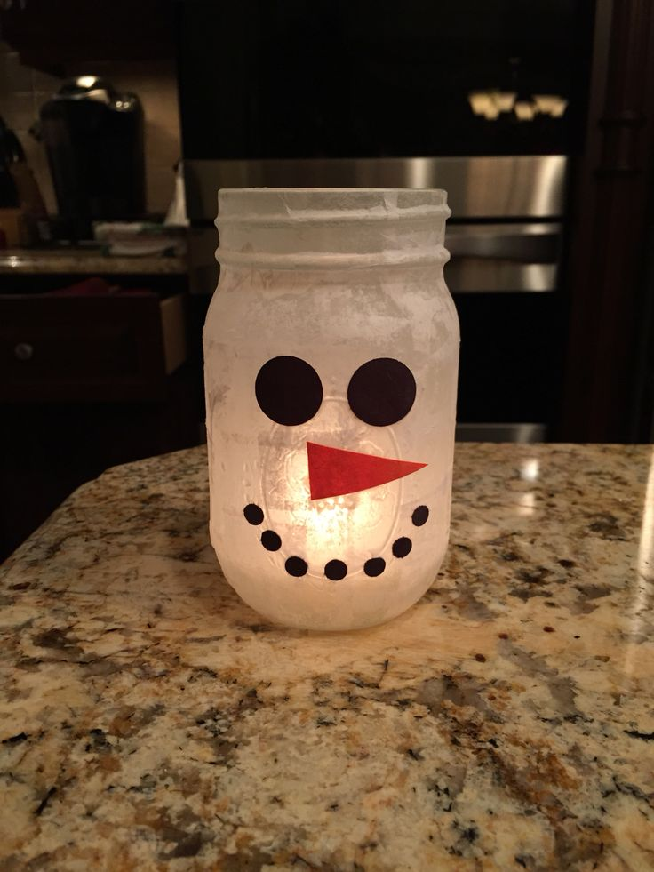 Snowman mason jar candle. Super easy!!!! All you need is ...