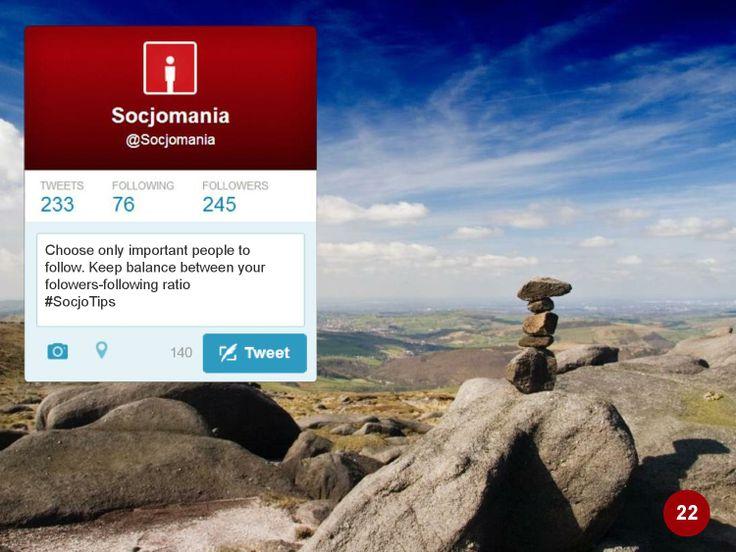 #TwitterTips Dobieraj uważnie ludzi do śledzenia. Jak ich szukać? http://socjomania.pl/7-przydatnych-narzedzi-wspierajacych-dzialania-social-media-managera-na-twitter/  #Twitter  #SocialMedia #SocialMediaTips